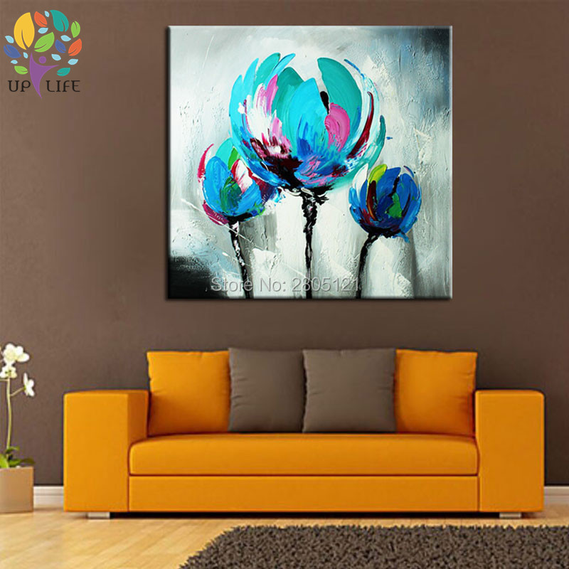 100% Hand made promotion bloom blue Flowers canvas painting Abstract - Home Decor - Photo 5