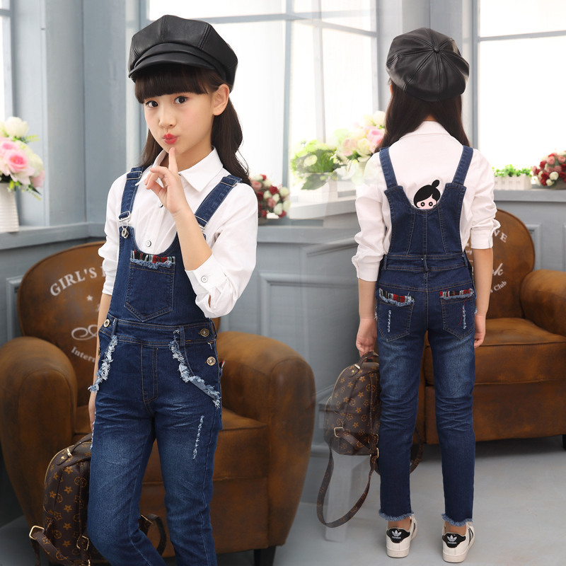 2017 New Children Solid Denim Overalls Top Quality Girls Infantil Jumpsuits Fashion Soft Pants for Kids Girls Denim Overalls summer men s casual loose denim jumpsuits overalls bib pants light blue cargo pants plus size gardener capris size xs 5xl