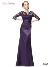 Elegant Evening Dresses Lace Women's Long Purple 2017 Black Ever Pretty EP09882 Floor Length Gown Fast Shipping Evening Dresses