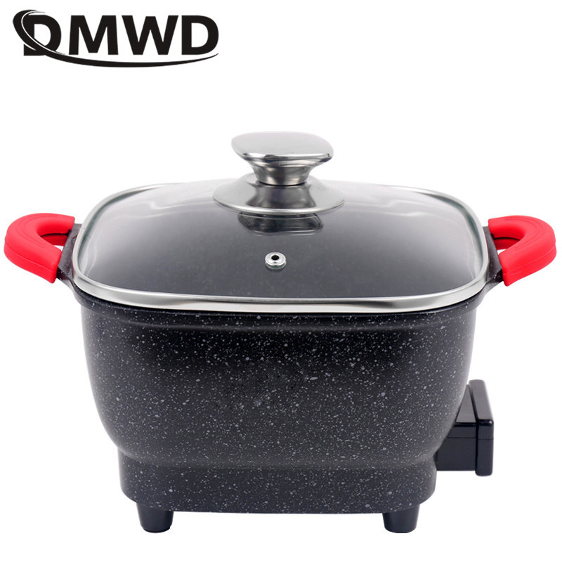 DMWD Electric Skillet with Non-Stick Coating and Five Gear Temperature Control 2