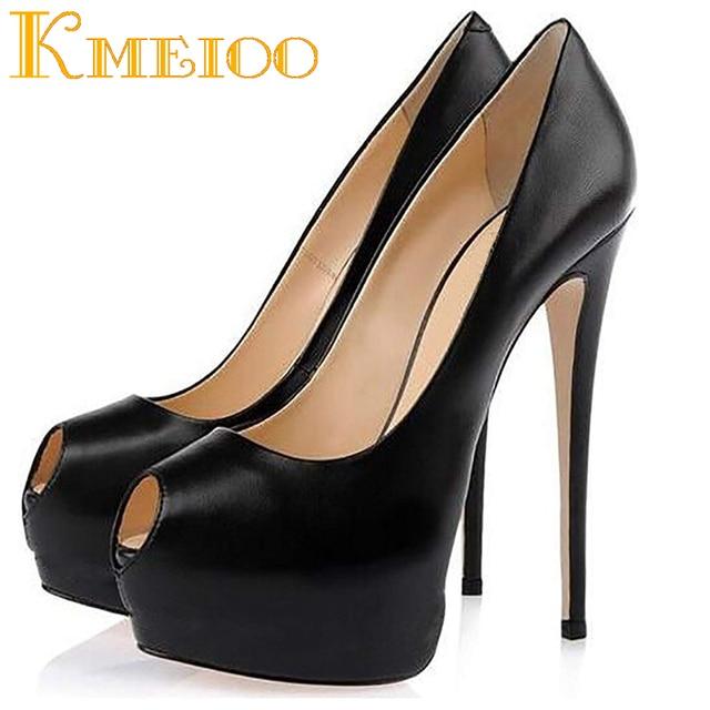 11d6b62e6a5 Kmeioo 2018 Hot Sale Sexy Ladies Shoes Fashion Platform Pumps Peep Toe High  Heels Evening Party Wedding Stiletto
