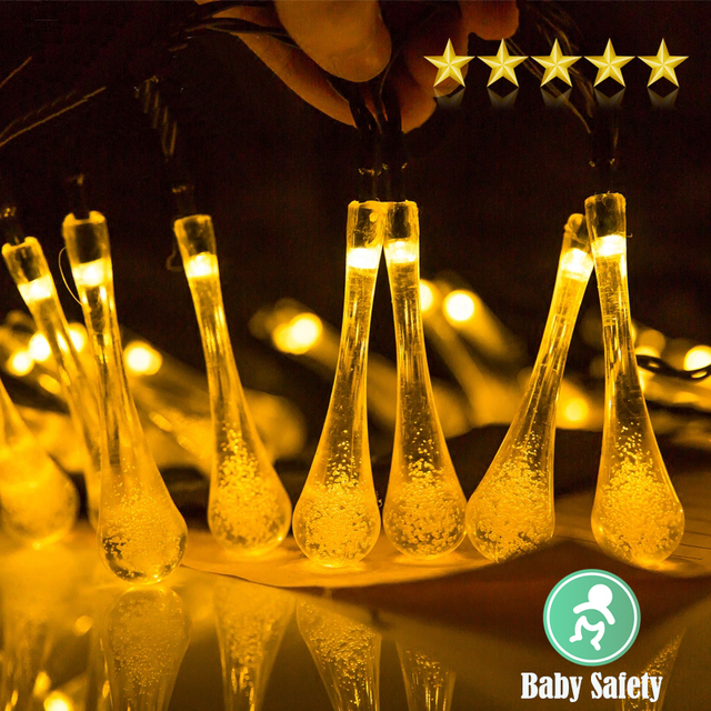 Us 26 09 Aliexpress Holiday Solar String Light Led Waterdrop Wire Multi Styling Portable Safty Waterproof Decorative Le Lighting