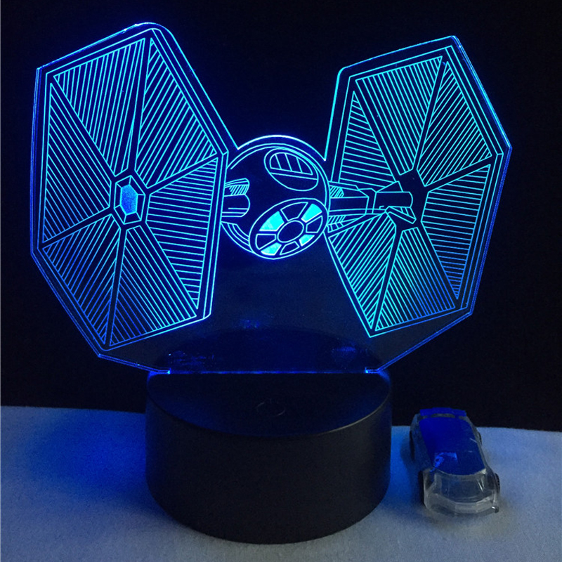 2017 Hari Natal RC Star Wars 3D USB LED Lampu mainan Kartun Tie Fighter lampu Meja Lampu Malam Visual dimmer Anak hadiah