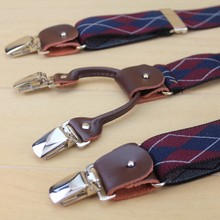 2014 Top Men suspenders Selling elastic jacquard weave genuine leather Mens Suit Braces