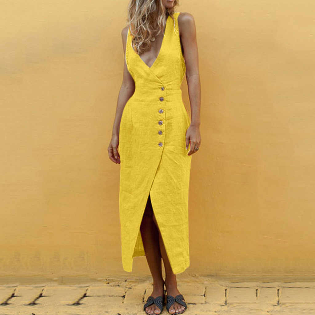 Летнее повседневное длинное платье женское сексуальное v-образным вырезом без рукавов на бретелях платья с открытой спиной на пуговицах Сплит Длинные пляжные платья verano