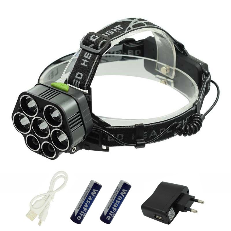 USB Rechargeable 5*XML T6 7 LED Headlamp Head Lamp 40000 lumens Frontal LED Flashlight White Blue Head Torch Light By 2*18650 8000lm usb rechargeable head lamp torch xml t6 cob led white red light headlamp frontal led running headlight usb cable by 18650