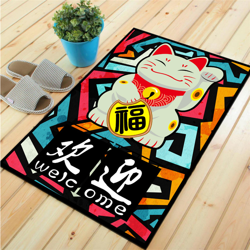 Honlaker Fortune Cat Living Room Rugs and Carpets Chinese Style Entrance Mats Bedroom Large Floor Matmat matrugged ruggedmats and rugs -