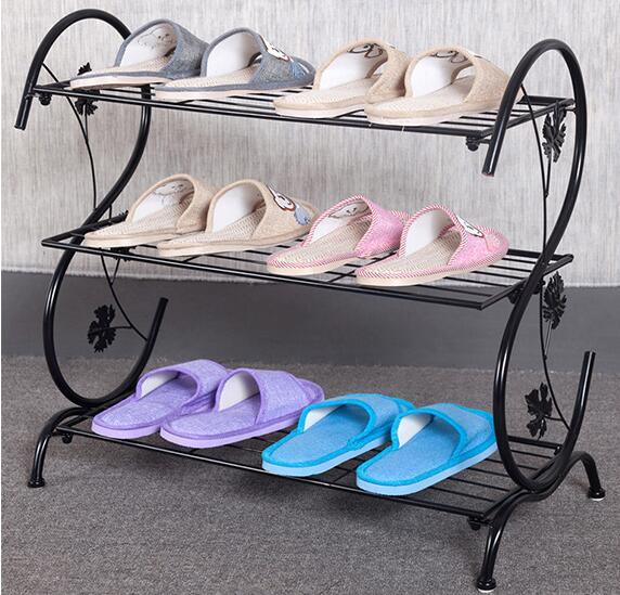 Three Layer Storage Holder Metal Retro Shoe Rack Living Room Storage Shelf