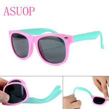 2019 newTR90 boys and girls polarized sunglasses fashion classic brand design square glasses UV400 safe soft kids