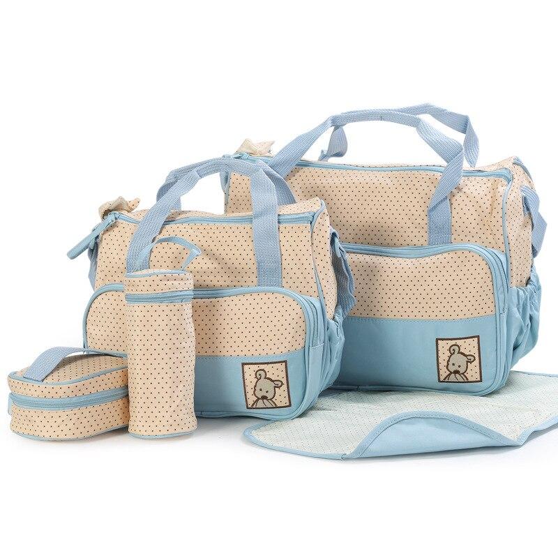 5pcs Multifunctional Dot Nappy Changing Mummy Handbag Diaper Pad Feeding Bottle Holder Food Bag For Babies Stroller Nappy Bag