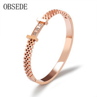 OBSEDE Fashion Women Bangles Charm Stainless Steel Bracelets Bangles With Cubic Zirconia Silver Rose Gold Female
