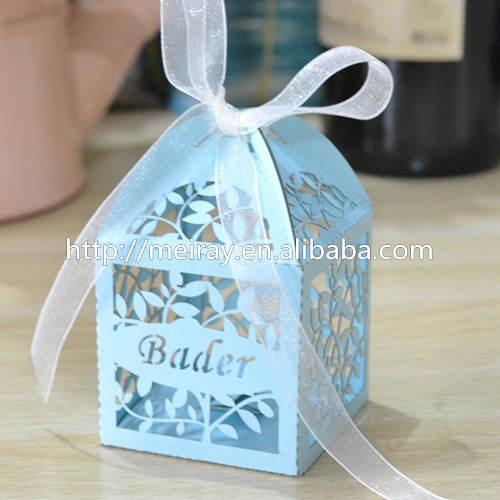 wedding cake bags for guests dragee packaging personalized engraved leaves wedding 8566
