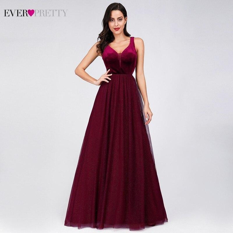 Ever Pretty Burgundy Bridesmaid Dresses A-Line V-Neck Sleeveless Sparkle Wedding Guest Dresses Robe Demoiselle D'honneur 2019