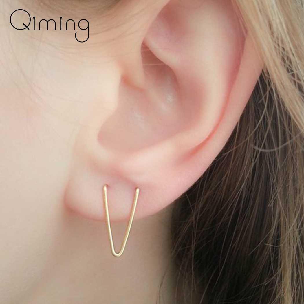 Handmade Two Hole V Vintage Earrings Creative Double Lobe Earrings