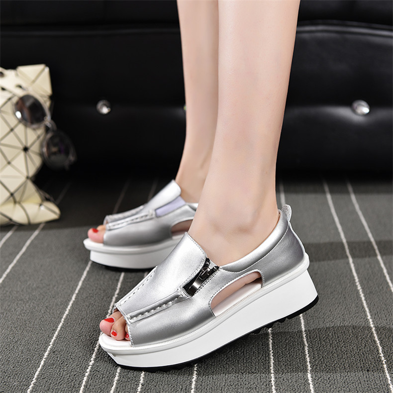 2019 Fashion Summer Women Sandals Wedges Sandals Ladies Open Toe Round Toe Zipper Silver White Platform Sandals Shoes (11)