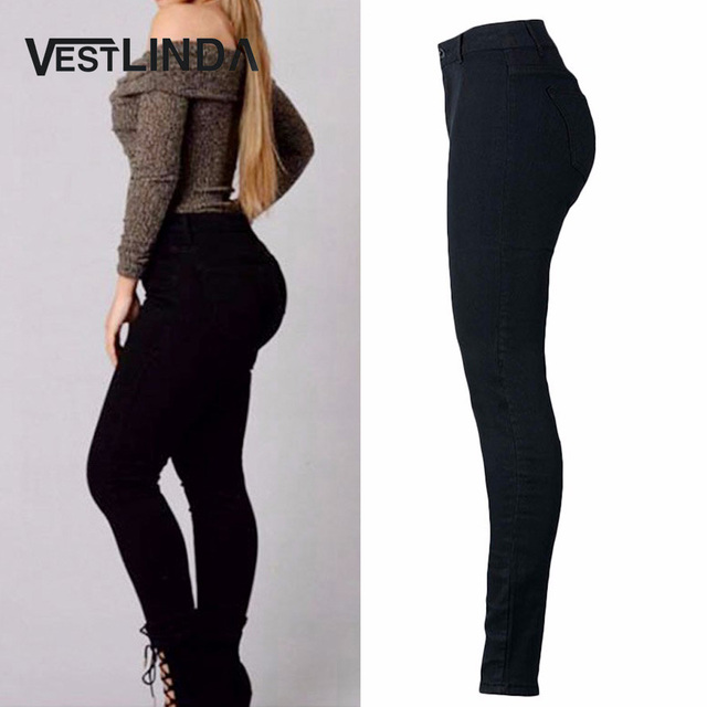 VESTLINDA Pants Women High Waist Elastic Solid Black Pants Denim Regular Sheath Long Pencil Pants Ladies Fashion Zipper Pant