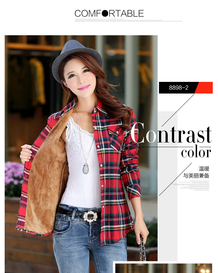 19 Brand New Winter Warm Women Velvet Thicker Jacket Plaid Shirt Style Coat Female College Style Casual Jacket Outerwear 5