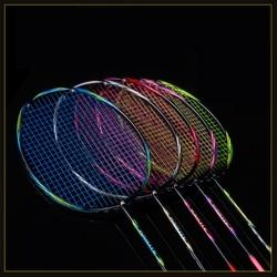 Raqueta de bádminton profesional ultraligera 8U 64g, raqueta de Bádminton de carbono, empuñaduras de fibra de carbono y muñequera