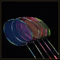 Ultralight 8U 64g Infilate Racchetta Da Badminton Professionale di Carbonio Racchetta Da Badminton in fibra di carbonio Manopole e Wristband