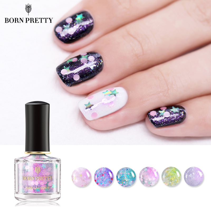 Opal Glitter Nail Polish: BORN PRETTY 6ml Holographic Nail Polish Opal Star Glitter