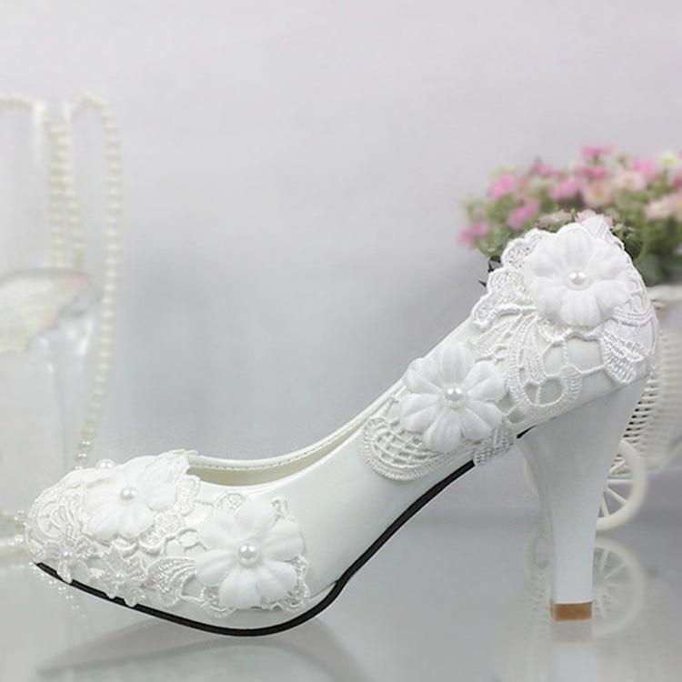 Shoes women pumps White Lace Flower Wedding Shoes Pearl High heels Bride Wedding Shoes Bridesmaid Shoes white heels platform