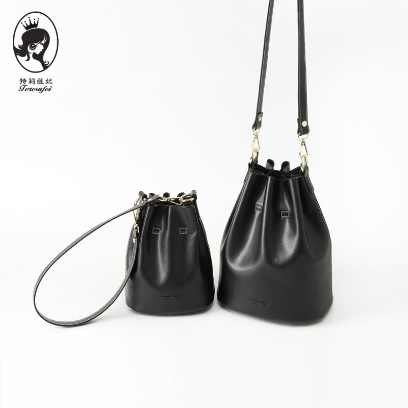 Fashion black 100% Genuine Leather Women Handbag Bucket bag Travel Tote Bag Large Capacity Lady Shoulder Bags Crossbody Purse yasicaidi fashion women leather handbags large capacity tote bag black oil leather shoulder bag crossbody bags for women handbag
