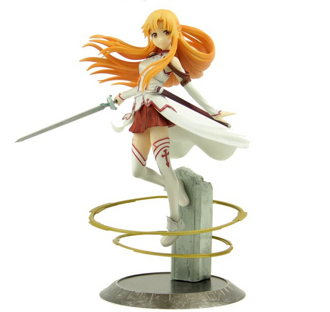 Classic Anime 22cm Sword Art Online Asuna Action Figures PVC Collection toys for christmas gift brinquedos With Retail box hot anime 24cm trafalgar law one piece action figures anime pvc brinquedos collection figures toys with retail box birthday gift