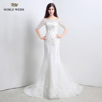 In Stock Cheap Ivory Appliques Beading Half Sleeve Bridal Gowns Mermaid Free Shipping White Wedding Dress