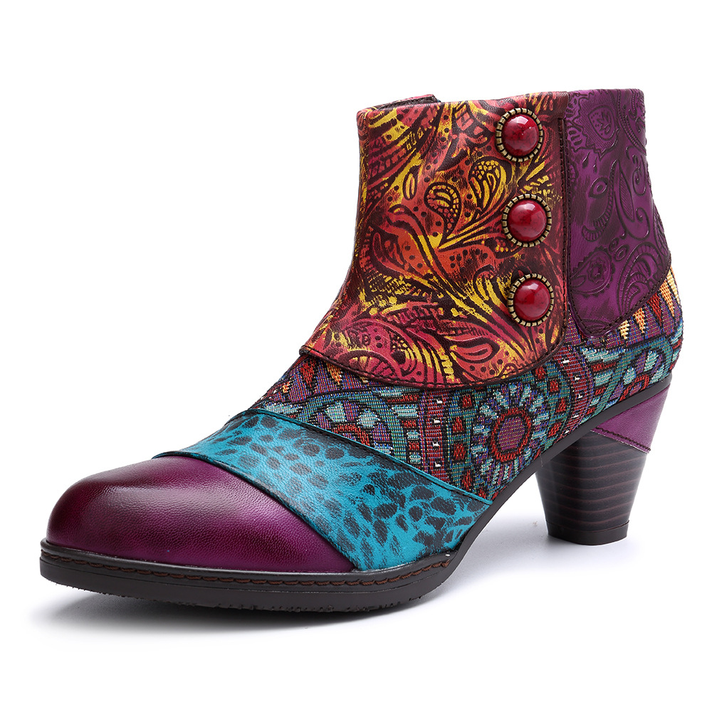 Johnature Patchwork Vintage 2019 New Genuine Leather Ankle Boots for Women Ladies Shoes Woman Flower Bohemia