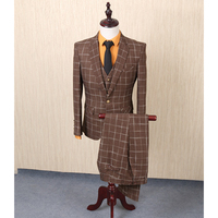 FOLOBE Fashion Brown Tweed 3PCS Mens Suits For Wedding Groom Tuxedos Formal Mens Suits Slim Fit Groomsmen Suits terno masculino