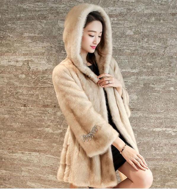 46776a6d729f A nova imitação de pele de vison casaco de pele 2017 outono e inverno das  mulheres
