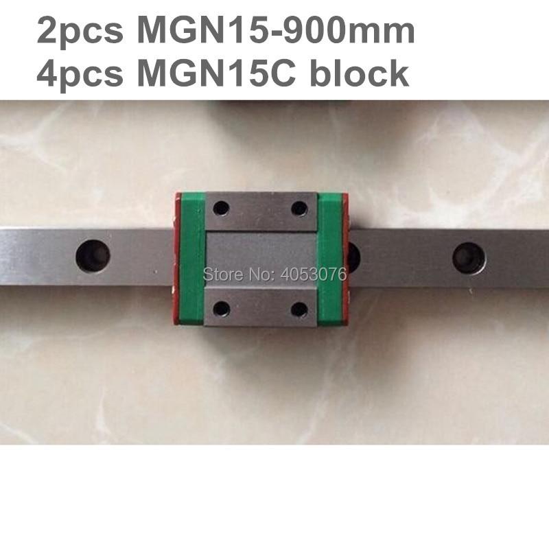 Linear guide MGN15 miniature linear rail slide 2pcs MGN15- 900mm linear rail guide +4pcs MGN15C carriage for cnc parts mgn15 miniature linear rail 3pcs mgn15 900mm rail 3pcs mgn15c mgn15h carriage for x y z axies 3d printer parts