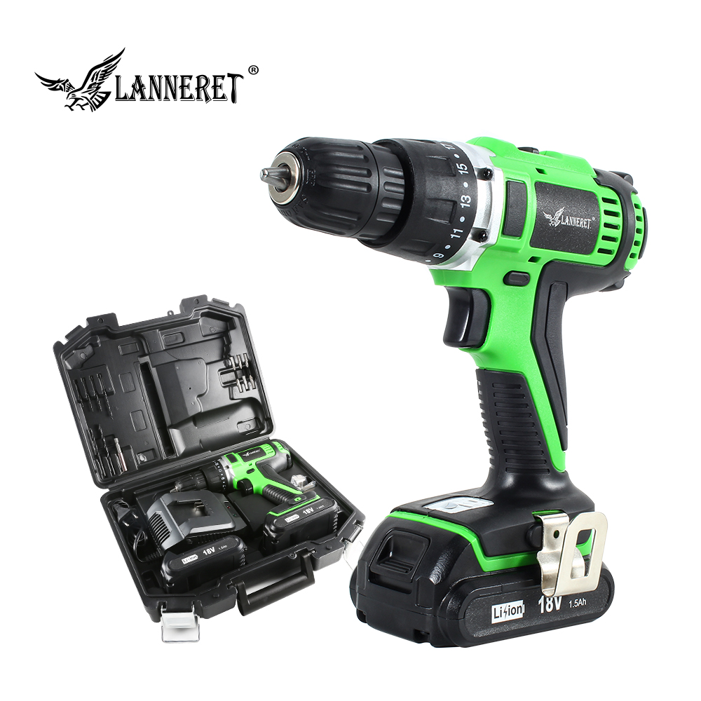LANNERET 18V 45Nm DC Lithium-ion Battery 3/8inch 2-Speed Electric Cordless Drill Mini Electric Screwdriver Wireless Power Driver 18v dc lithium ion battery cordless drill driver power tools screwdriver electric drill with battery included