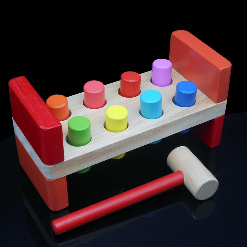 Colored wooden toy percussion stakes color piling machine Kids wooden toys on deck Classic Learning and