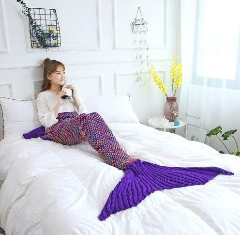 CAMMITEVER Mermaid Tail Blanket Yarn Knitted Handmade Crochet Mermaid Blanket Kids Throw Bed Wrap All Seasons Sleeping Knitted