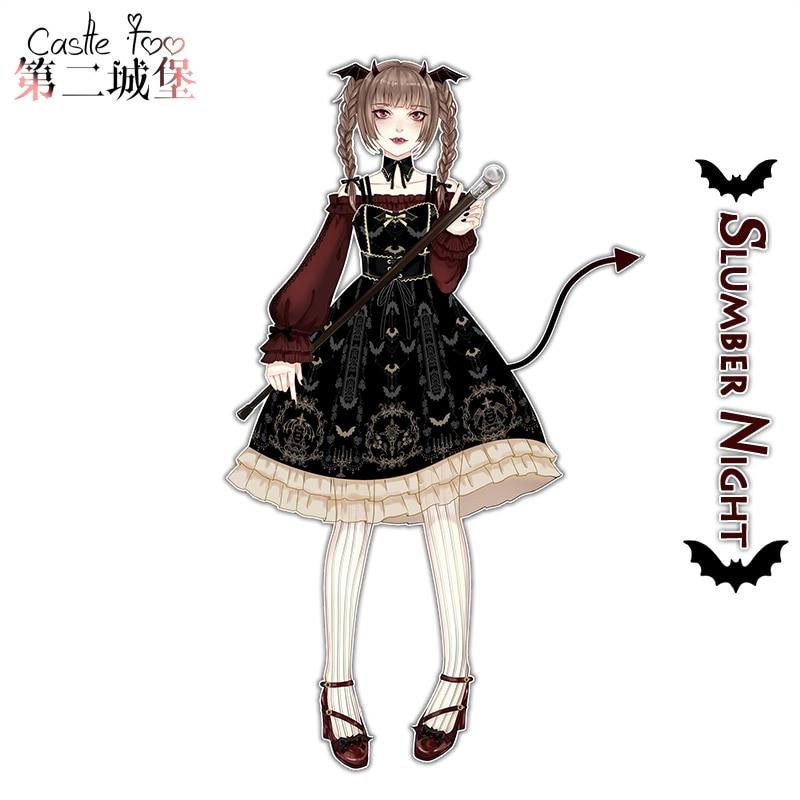 Femme gothique Lolita robe conception originale sommeil nuit ceinture JSK robe fille Lolita 2018 nouveau - 2
