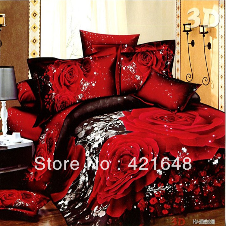 Free Shipping 3d Bed Linen Cotton Queen Size Bedclothes