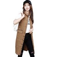 2019 Long Vest Winter Coat Women Sleeveless Down Jacket Slim Female Quilted Coat Femme Korean Waistcoat Colete Plus Size D288