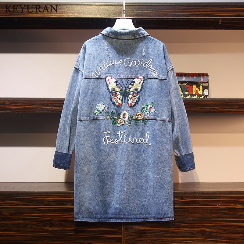 Autumn Winter Plus Large Size Butterfly Letter Embroidery Women Denim Jackets Casacos Femininos Ladies Long Cotton