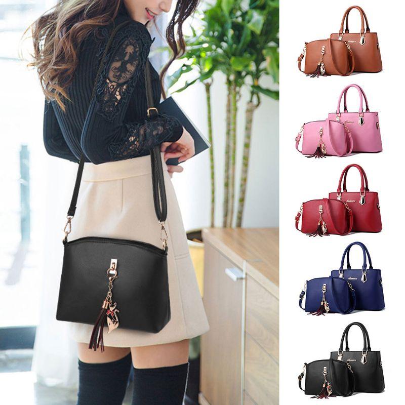 1 Set / 2 Pcs Women Lady Leather Shoulder Bag Handbag Satchel Totes Purse Crossbody Top Handle Bags