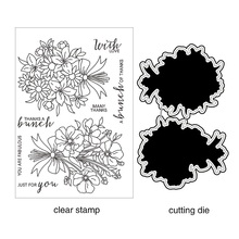 ZhuoAng Bunch of Flowers Clear Stamps and Cutting Dies Set for Scrapbooking Photo Album Card Making DIY Decoration Supp