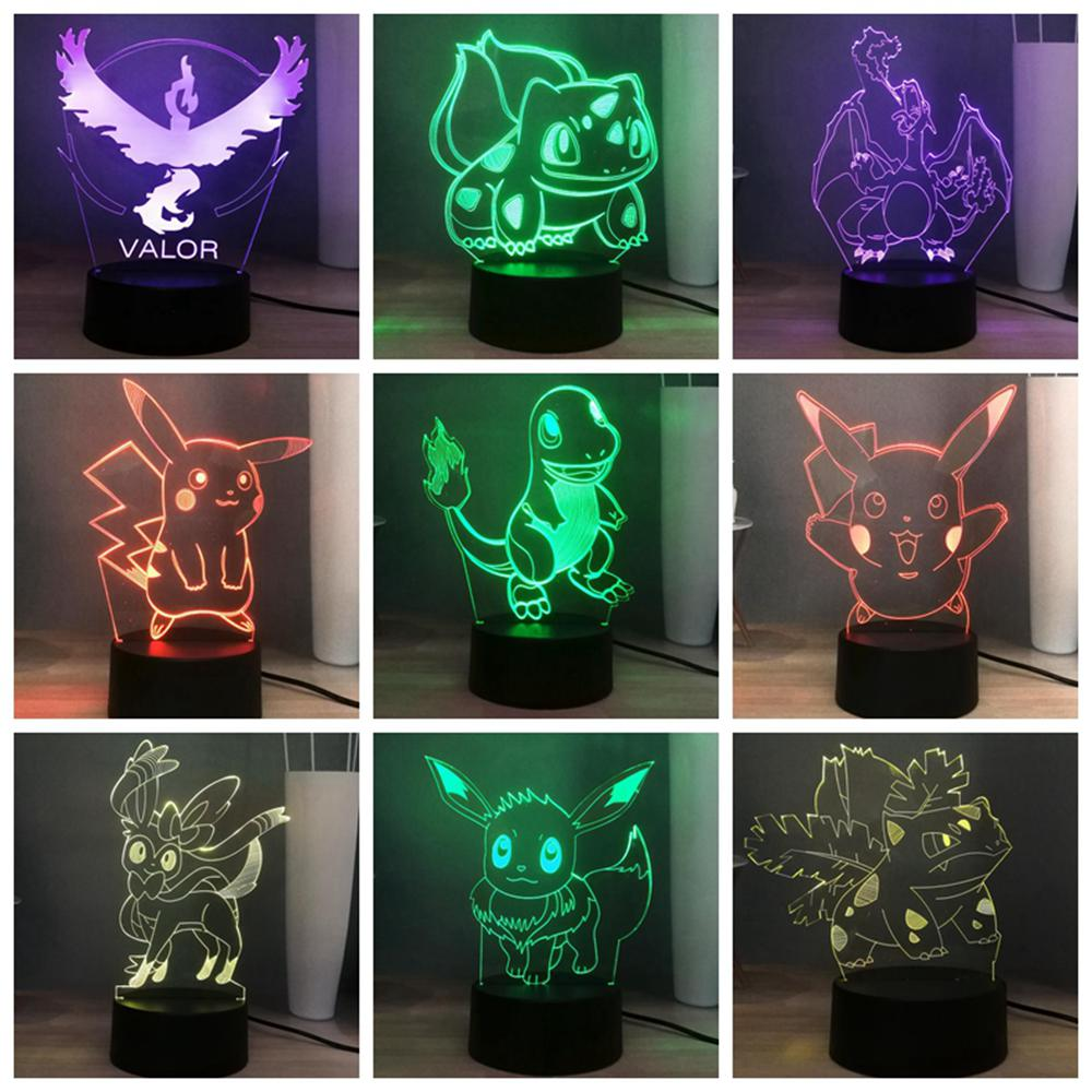 New 3D Pokemon LED NIGHT LIGHT Cute Pikachu Fairy Elves USB Switch Multicolored Bedside Lamp Deco Kid Holiday Gift Drop Shipping