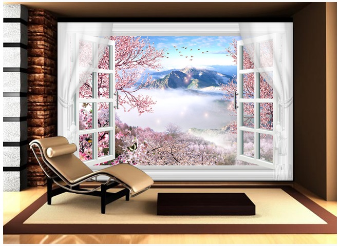 3D Custom Mural Large Natural Scenery With False Windows Peach Blossom Behind TV Sofa As Background Wallpaper In Living Room