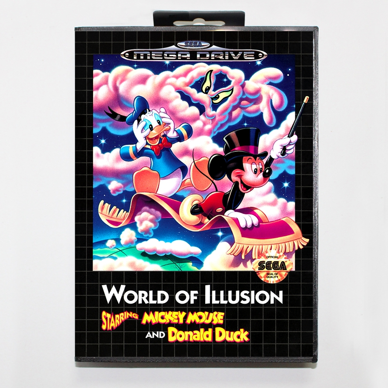 Sega MD games card - World of Illusion with box for Sega MegaDrive Video Game Console 16 bit MD card