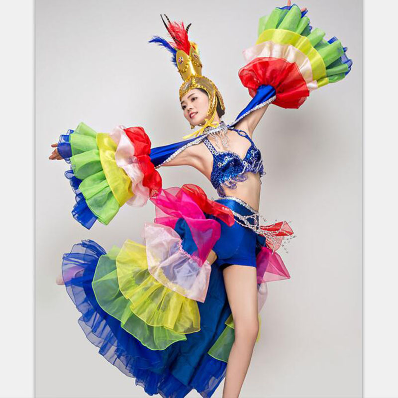 stage costumes for singers colorful sexy dance outfits with bikini ostrich feather headpiece ancient chinese dance costumes