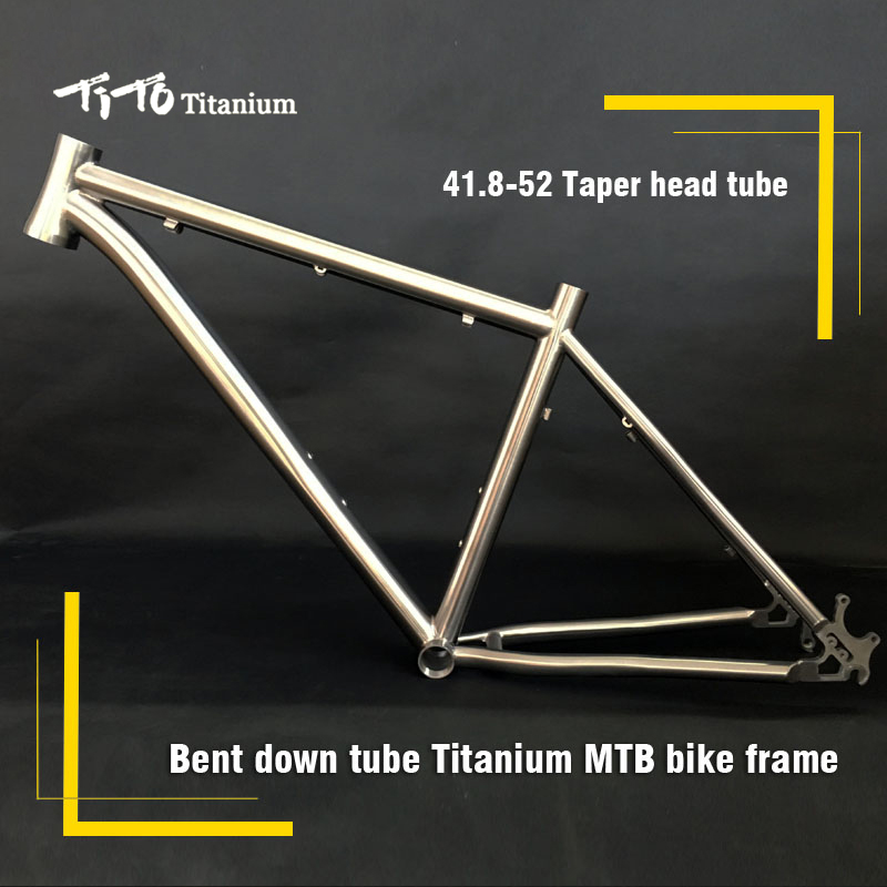FREE SHIPPING !!! TiTo Titanium MTB bike frame 26``27.5``29``ONE -PIECE tail hook and bent down tube 41.8-52 head tube bicycle free shipping tito titanium mountain bike mtb frame 26 27 5 29er simi circle a tail hook 34 head tube