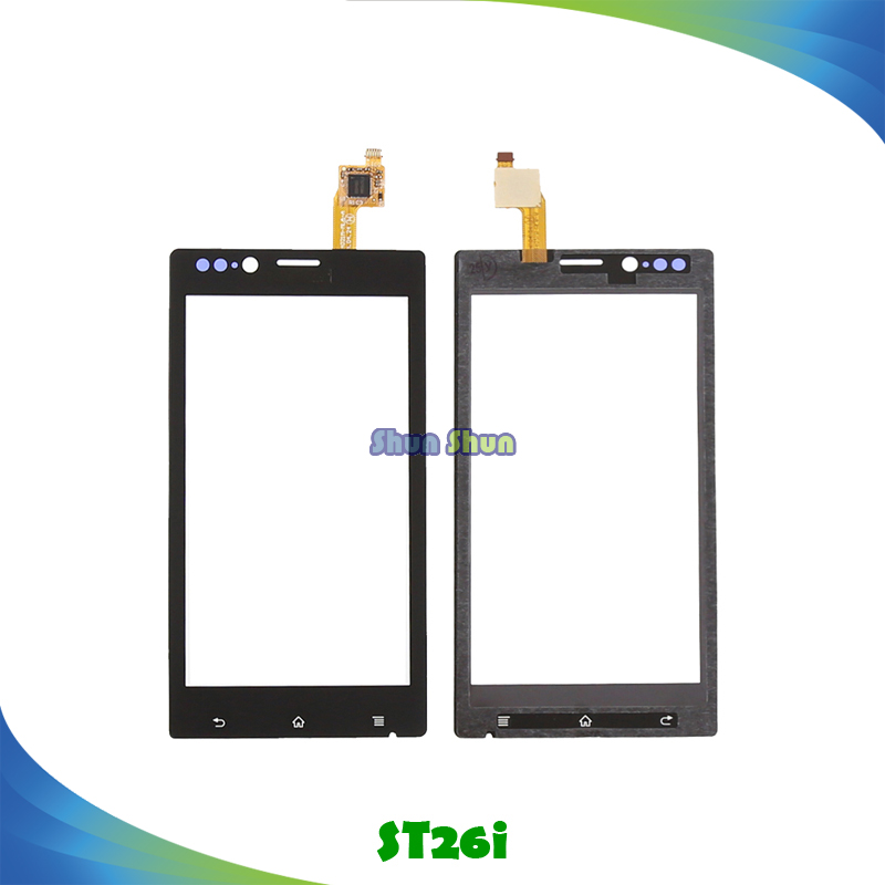 4.0 ST26i Touch Panel for Sony Xperia J ST26i ST26 Touch Screen Digitizer Sensor Front Glass Lens Black Mobile Phone Parts