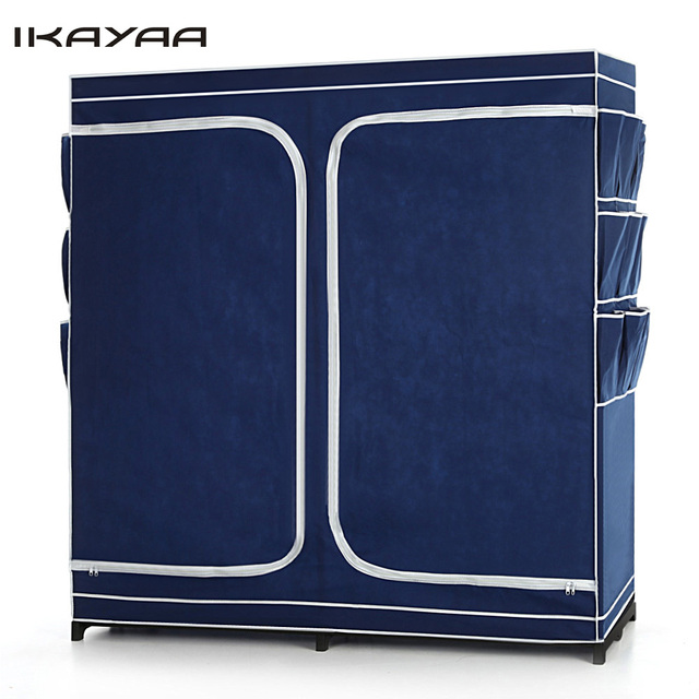 IKayaa US UK FR Stock Double Zipped Up Closet Wardrobe Cabinet Large  Clothes Storage Organizer Garment
