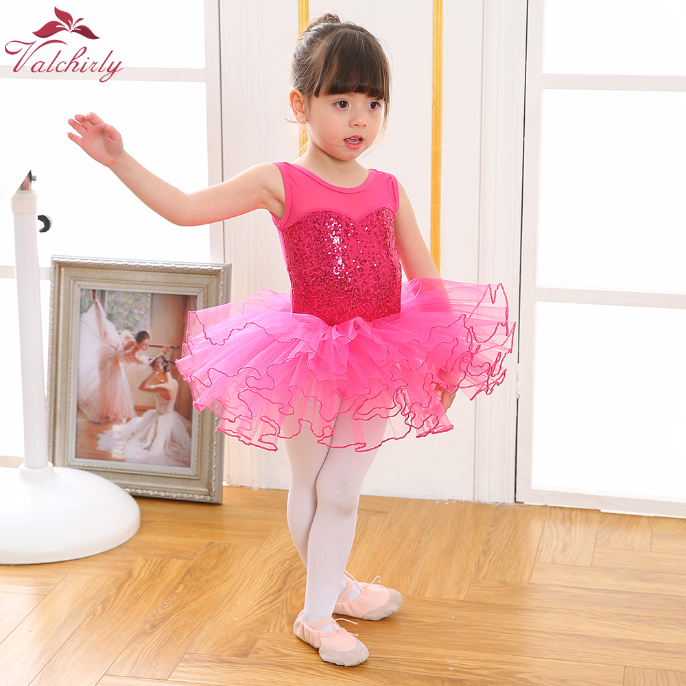 2019 New Girls Ballerina Fairy Prom Party Costume Kids Sequined Flower Dancewear Gymnastic Leotard  Ballet Tutu Dress For Kids