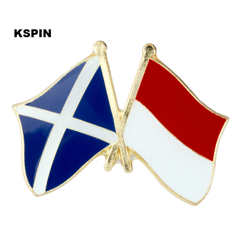 Australia Indonesia Friendship Flag Label Pin Metal Badge Badges Icon Bag Decoration Buttons Brooch For Clothes 1pc Apparel Sewing & Fabric
